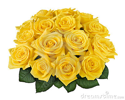Yellow rose bouquet cutout