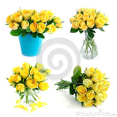 Yellow rose bouquet set