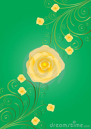 Yellow roses with curls on green background