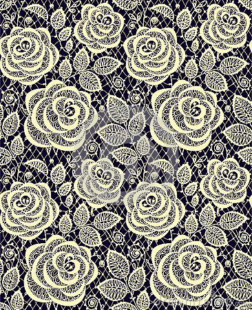 Free Yellow Roses Lace Seamless Pattern. Stock Photography - 54319462