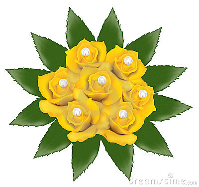 Yellow roses with pearls