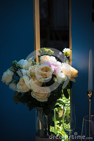 Yellow Roses with Wedding Atmosphere Stock Photo