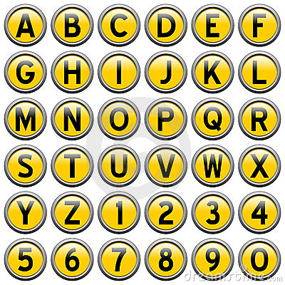 Yellow Round Alphabet Buttons