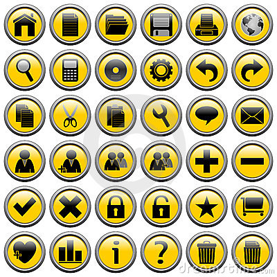 Yellow Round Web Buttons [1]
