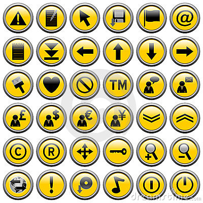 Yellow Round Web Buttons [2]