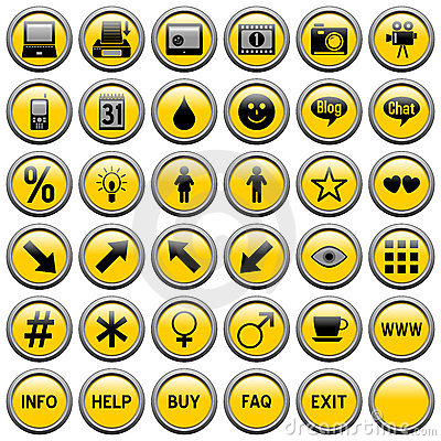 Yellow Round Web Buttons [4]
