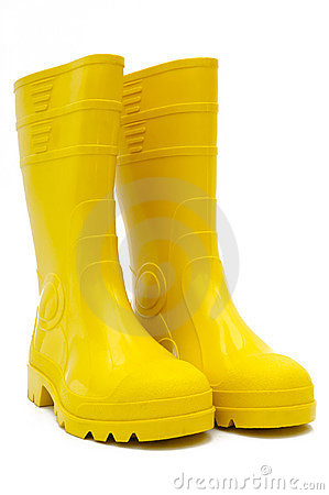 Free Yellow Rubber Boots Isolated Royalty Free Stock Photos - 4173688