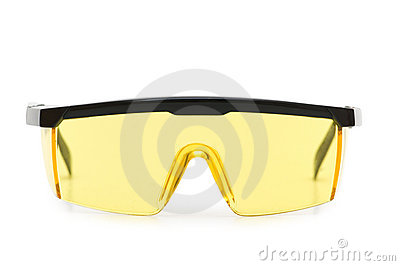 Yellow safety glasses isolated