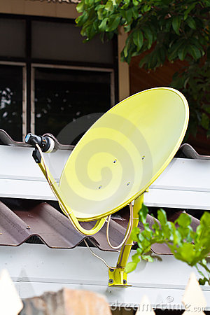Yellow  Satellite dish antennas