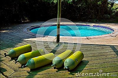 Yellow scuba tanks