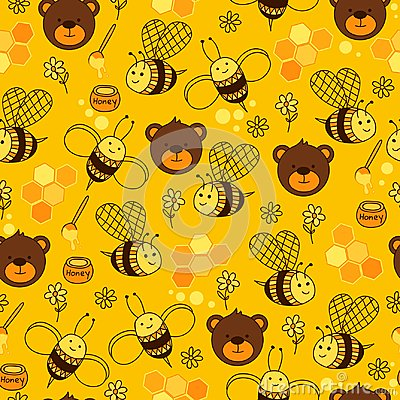 Free Yellow Seamless Pattern With Bears, Honey, Flowers, Hearts, Bee And Honeycomb. Royalty Free Stock Images - 100908559