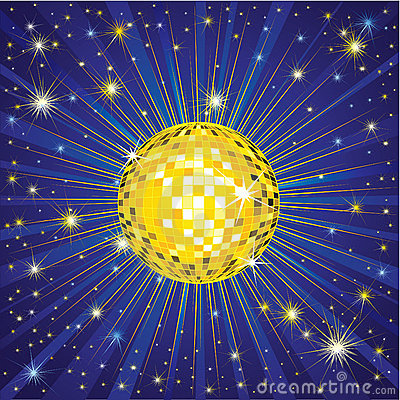 Yellow shining disco-ball