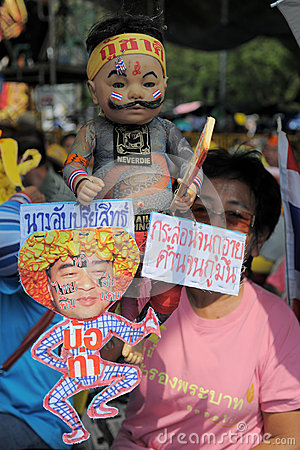 Yellow-Shirt Protest in Bangkok Editorial Stock Photo