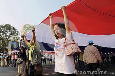 Yellow-Shirt Protest in Bangkok Editorial Image
