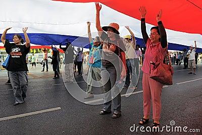 Yellow-Shirt Protest in Bangkok Editorial Stock Image