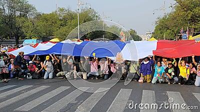 Yellow-Shirt Protest in Bangkok Editorial Stock Photo