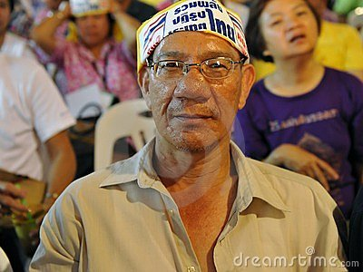Yellow-Shirt Protester at a Rally in Bangkok Editorial Image