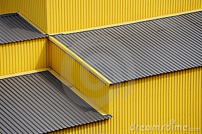 Yellow siding wall and roof