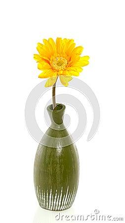 A yellow silk gerber flower