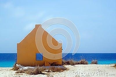 Yellow slavehut. Bonaire