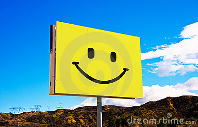 Yellow smiley billboard