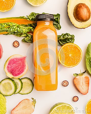 Free Yellow Smoothie Bottle With Healthy Fruits And Vegetables Ingredients On White Desk Background, Top View, Flat Lay, Vertical. Heal Stock Photo - 111326950