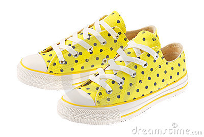 beautiful yellow sneaker isolated