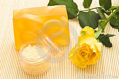Yellow soap and rose