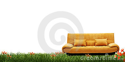Yellow sofa and green grass