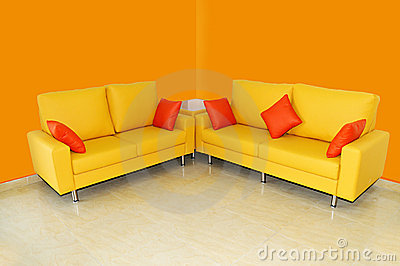 Yellow sofa set with pillows
