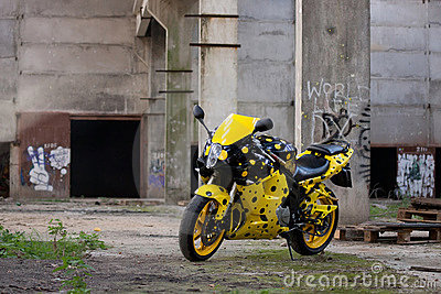 Yellow sport bike