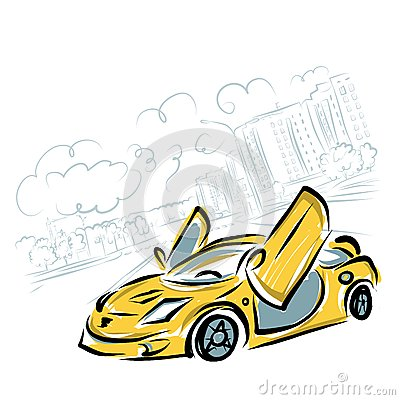 Yellow sport car on city background for your