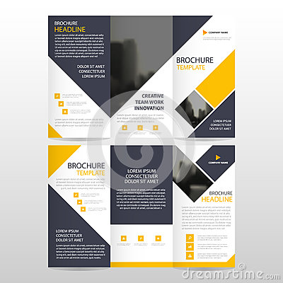 Yellow square business trifold Leaflet Brochure Flyer report template vector minimal flat design set, abstract three fold Vector Illustration