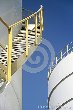 Yellow Stairway on outdoor Storage Tank