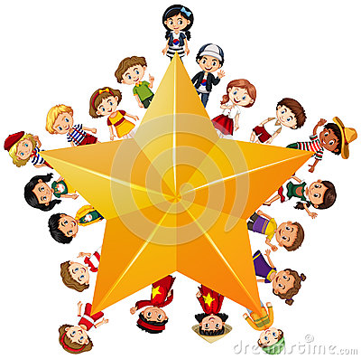 Free Yellow Star With Children On Border Royalty Free Stock Photo - 94246385