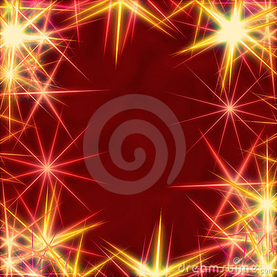 Yellow stars over red background