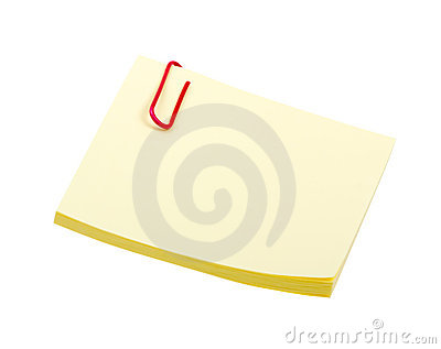 Yellow sticker note with clip isolated on white