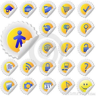 Yellow Sticker Peel Icon Set