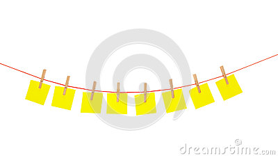Yellow stickies hanged on red rope