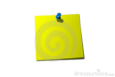Yellow sticky note. With clipping path.