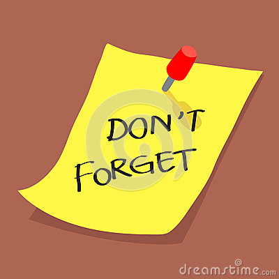 Yellow sticky note with dont forget message on boa