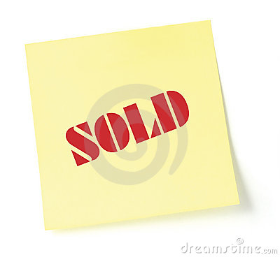 Yellow sticky note indicating item is sold