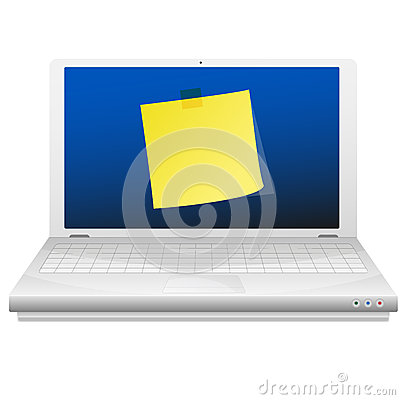 Yellow sticky note at the laptop screen