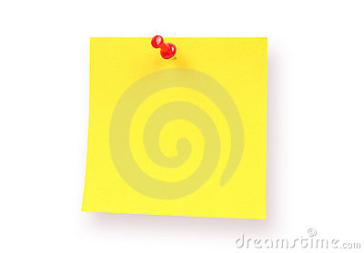 Yellow sticky note with pushpin isolated