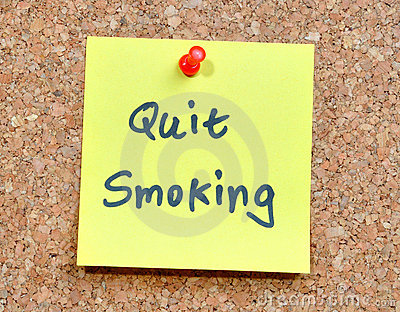 Yellow sticky note - Quit smoking!