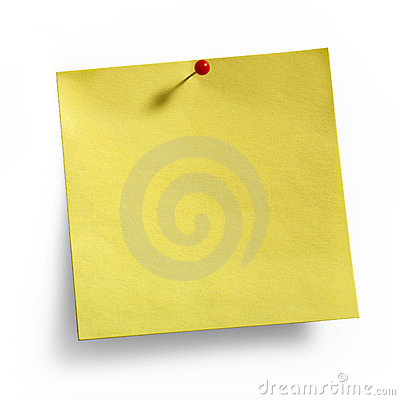 Yellow Sticky Note red pushpin