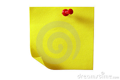 Yellow sticky paper. Isolated with clipping