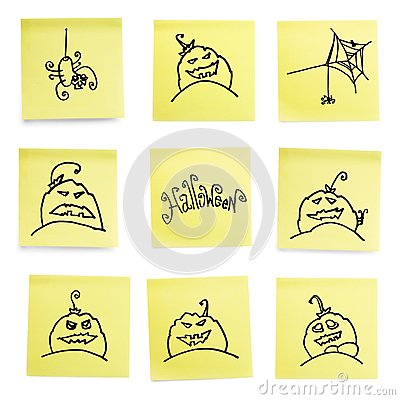 Yellow sticky papers set with Halloween doodles.