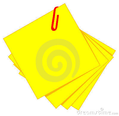 Yellow sticky and red clip