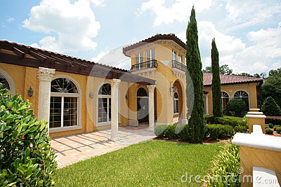 yellow stucco house royalty free stock photography image